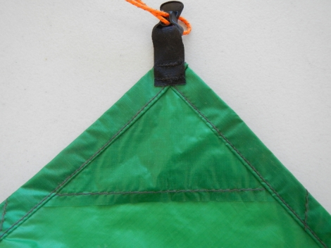 Each tie out is reinforced with a small triangle of silnylon